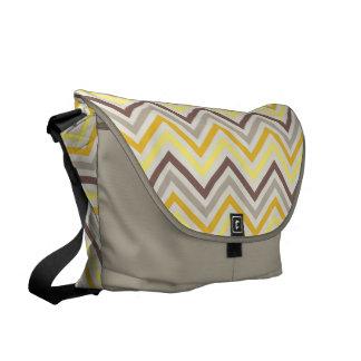 Messenger Bag: Yello & gray chevron pattern Messenger Bag