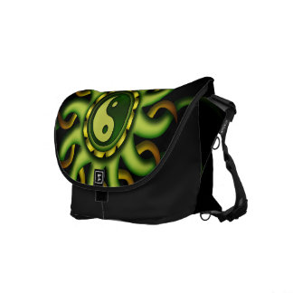 Messenger Bag, Yin Yang Sun, Gold, Green, Black