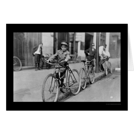 Messenger Boy and Bicycle 1911 Card
