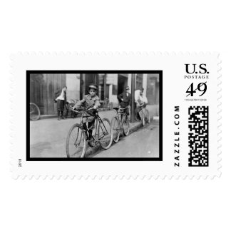 Messenger Boy and Bicycle 1911 Postage Stamp