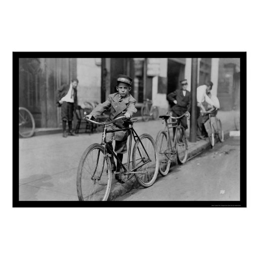 Messenger Boy and Bicycle 1911 Poster