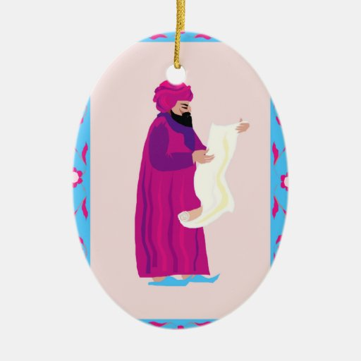 Messenger Double-Sided Oval Ceramic Christmas Ornament