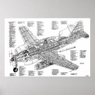 Messerschmitt jet to fighter to me-262 (Diagram) Poster