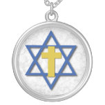 Messianic Cross with Star of David Round Pendant Necklace