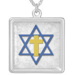 Messianic Cross with Star of David Square Pendant Necklace