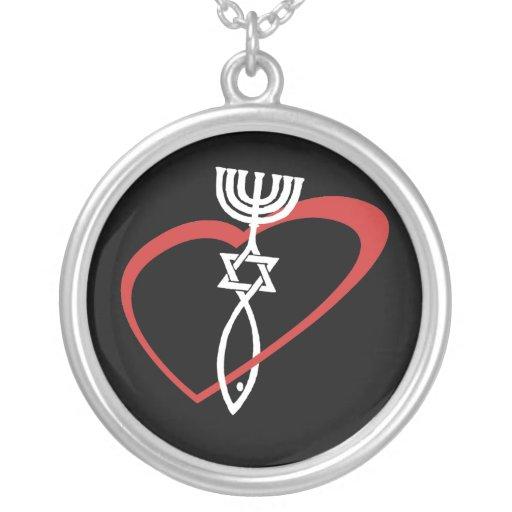 Messianic Heart Round Pendant Necklace