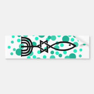 Messianic Symbol With Aqua Dots Bumper Sticker