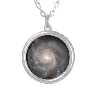 messier 101 ngc 5457 galaxy stars space silver plated necklace