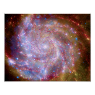 Messier 101 Spiral Galaxy - Hubble Telescope Photo Poster