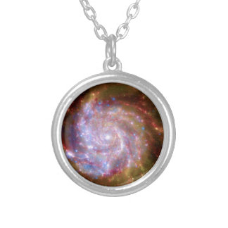 Messier 101 Spiral Galaxy - Hubble Telescope Photo Silver Plated Necklace
