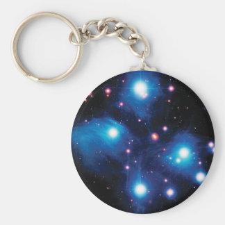 Messier 45 Pleiades Star Cluster Basic Round Button Keychain