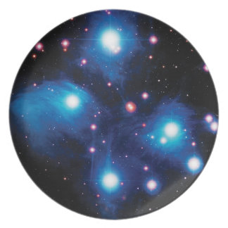 Messier 45 Pleiades Star Cluster NASA Space Photo Dinner Plate