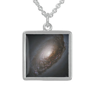 """Messier 64 - The """"Black Eye"""" Galaxy Square Pendant Necklace"""