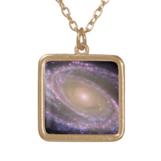 Messier 81 Spiral Galaxy Gold Plated Necklace