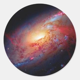 Messier M106 Spiral Galaxy Classic Round Sticker
