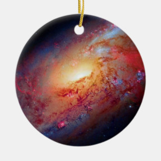 Messier M106 Spiral Galaxy Double-Sided Ceramic Round Christmas Ornament