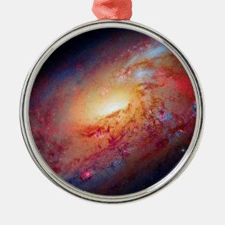 Messier M106 Spiral Galaxy Round Metal Christmas Ornament