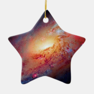 Messier M106 Spiral Galaxy Double-Sided Star Ceramic Christmas Ornament