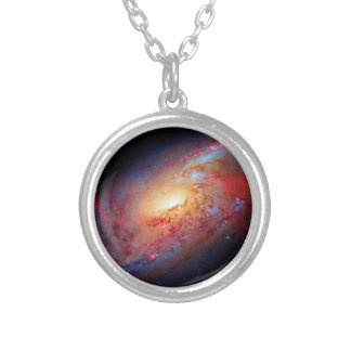 Messier M106 Spiral Galaxy Round Pendant Necklace