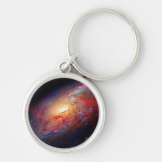 Messier M106 Spiral Galaxy Silver-Colored Round Keychain