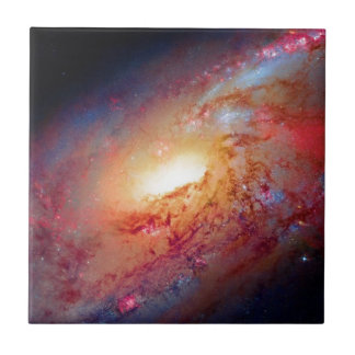 Messier M106 Spiral Galaxy Small Square Tile