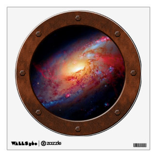 Messier M106 Spiral Galaxy Steampunk Porthole Wall Sticker