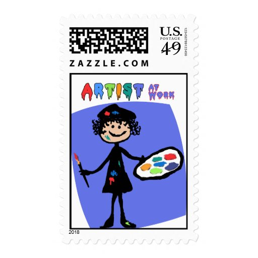 Messy Artist At Work Postage Stamp
