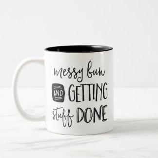 Messy Bun & Getting Stuff Done Two-Tone Coffee Mug