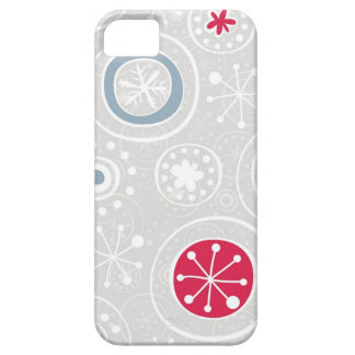 messy cute snowflakes white red and blue on gray iPhone SE/5/5s case