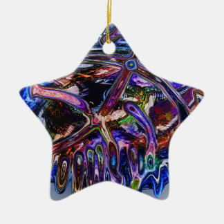 Messy Double-Sided Star Ceramic Christmas Ornament