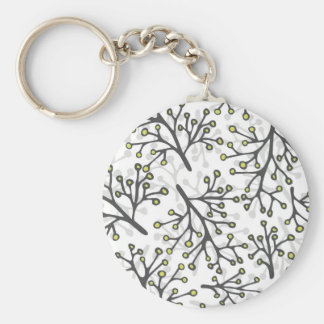 messy gray green branches on white background keychain