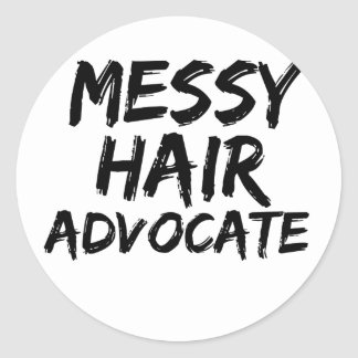 Messy hair advocate round stickers