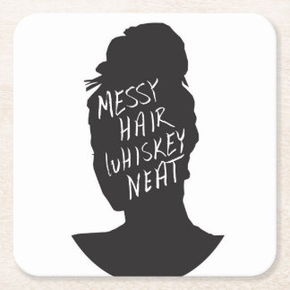 Messy Hair, Whiskey Neat Square Paper Coaster