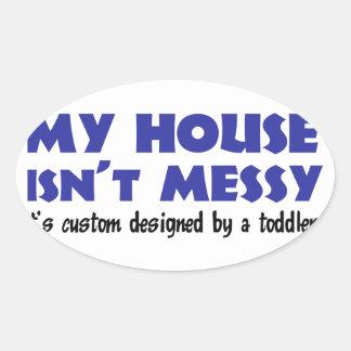 Messy House Oval Sticker
