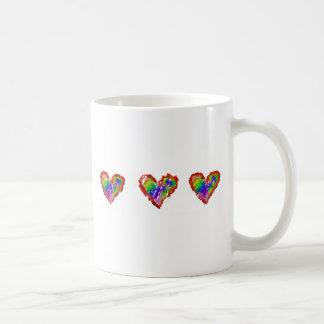 Messy Rainbow Hearts Abstract Ruffle Striped Coffee Mug