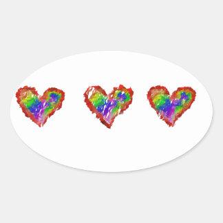 Messy Rainbow Hearts Abstract Ruffle Striped Oval Sticker