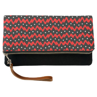 Messy Red Chevron Pattern with White Dots Clutch