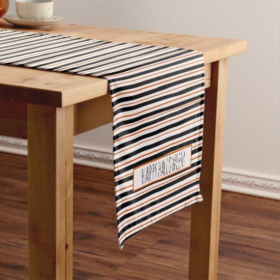 Messy Stripes Modern Trendy Farmhouse Halloween Short Table Runner