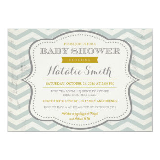 Messy Teal Grey and Gold Baby Shower Invite