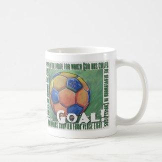 ¡Meta! Balón de fútbol cristiano Tazas
