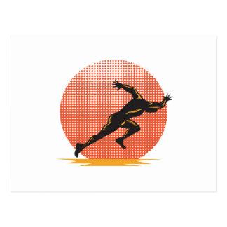 Meta corriente del atleta del corredor de maratón postal