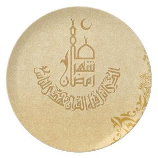 meta decorativa de la caligrafía islámica, musulmá plato de cena