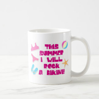 Meta del bikini del verano tazas de café