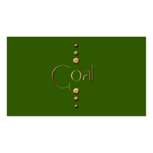 Meta del bloque del oro de 3 puntos y fondo verde tarjetas de visita