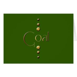 Meta del bloque del oro de 3 puntos y fondo verde tarjeta de felicitación