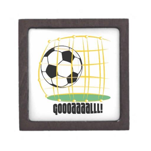 Meta del fútbol caja de recuerdo de calidad