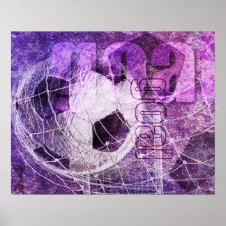 Meta del fútbol de los chicas púrpuras póster
