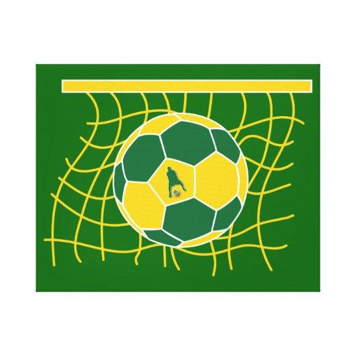 Meta del fútbol por J-MO-NET-GRN/GLD Lienzo Envuelto Para Galerias