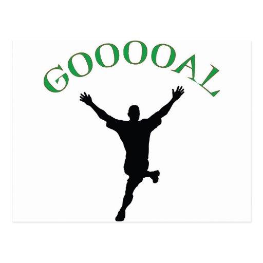 "Meta - el diseño del fútbol dice ""Gooooal "" Postal"