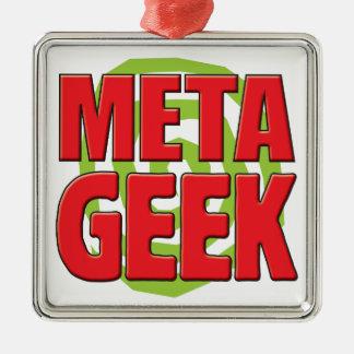 Meta Geek Square Metal Christmas Ornament
